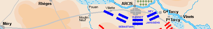 Detail ot the map of the battle of Arcis-sur-Aube