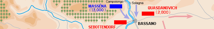 Detail ot the map of the battle of Bassano