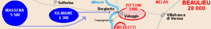 Detail of the map of the battle of Borghetto