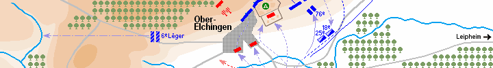Detail of the map of the battle of Elchingen