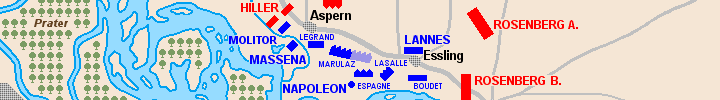 Detail ot the map of the battle of Essling