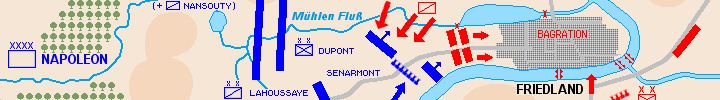 Detail of the map of the battle of Friedland