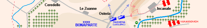 Detail of the map of the battle of Rivoli