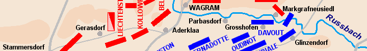 Detail of the map of the battle of Wagram