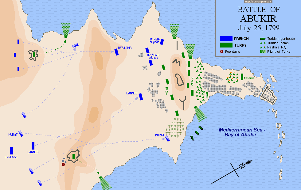 Map of the battle of Abukir (or Aboukir)