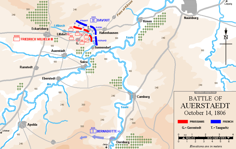 Map of the battle of Auerstaedt