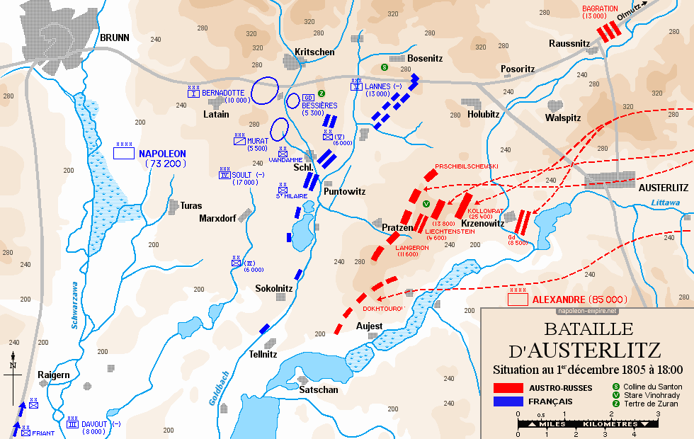 Map of the situation on 1 December 1805, 18:00