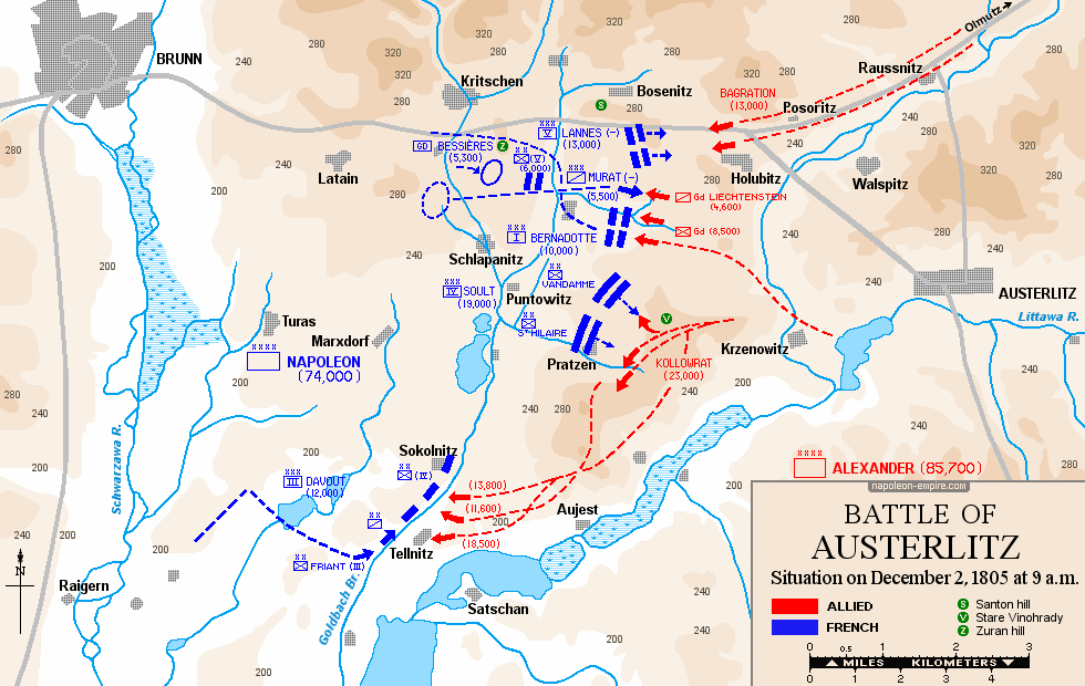 Map of the situation on 2 December 1805, 09:00