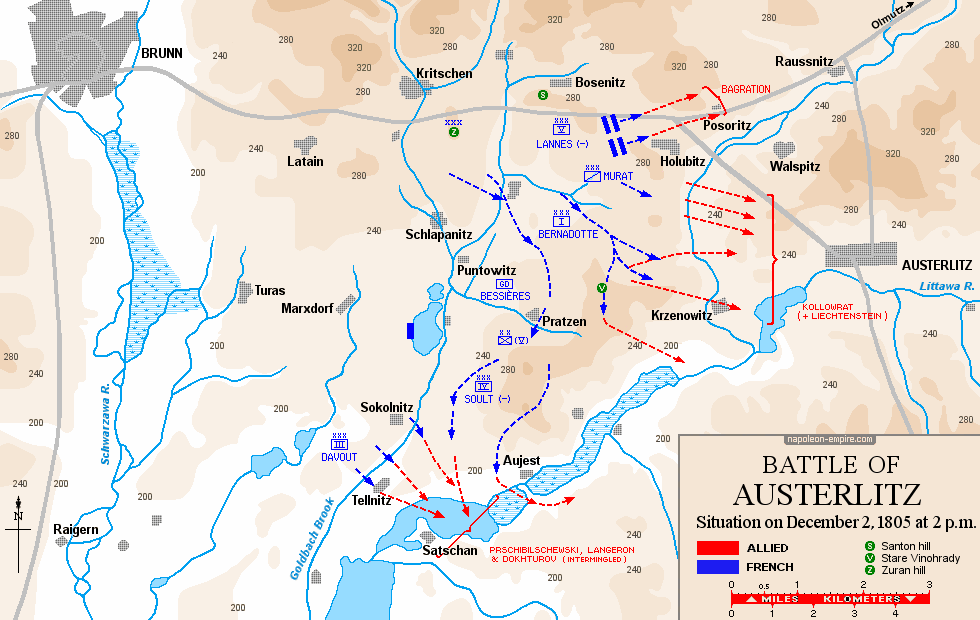 Map of the situation on 2 December 1805, 14:00