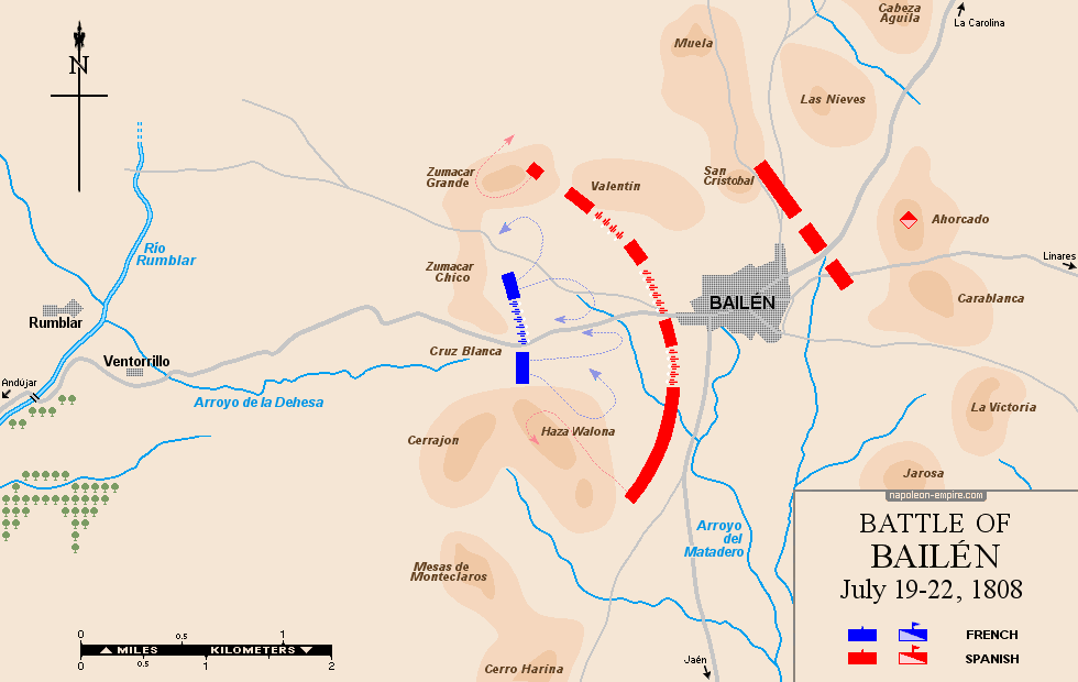 Map of the battle of Bailen