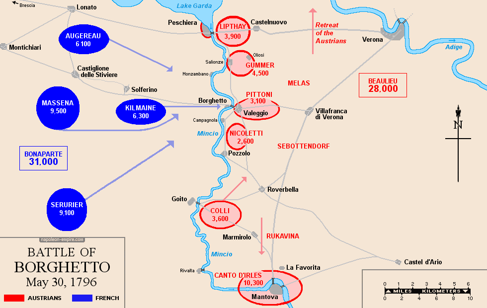 Map of the battle of Borghetto