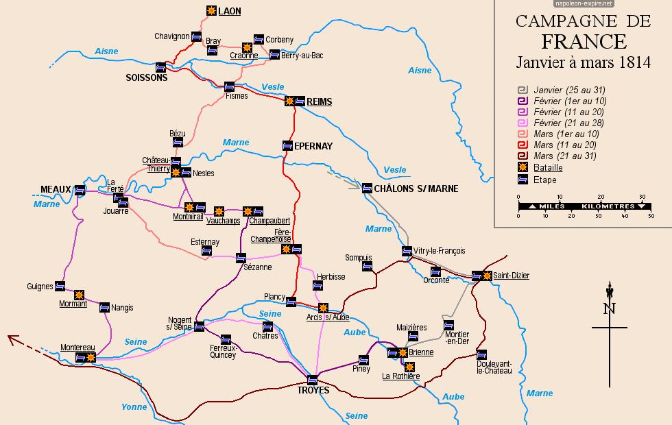 Carte de la Campagne de France de 1814