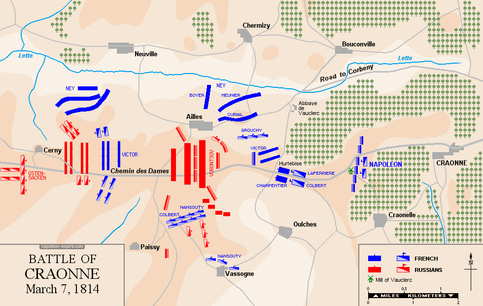 Map of the battle of Craonne