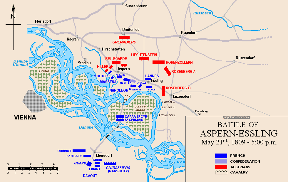 Map of the battle of Essling