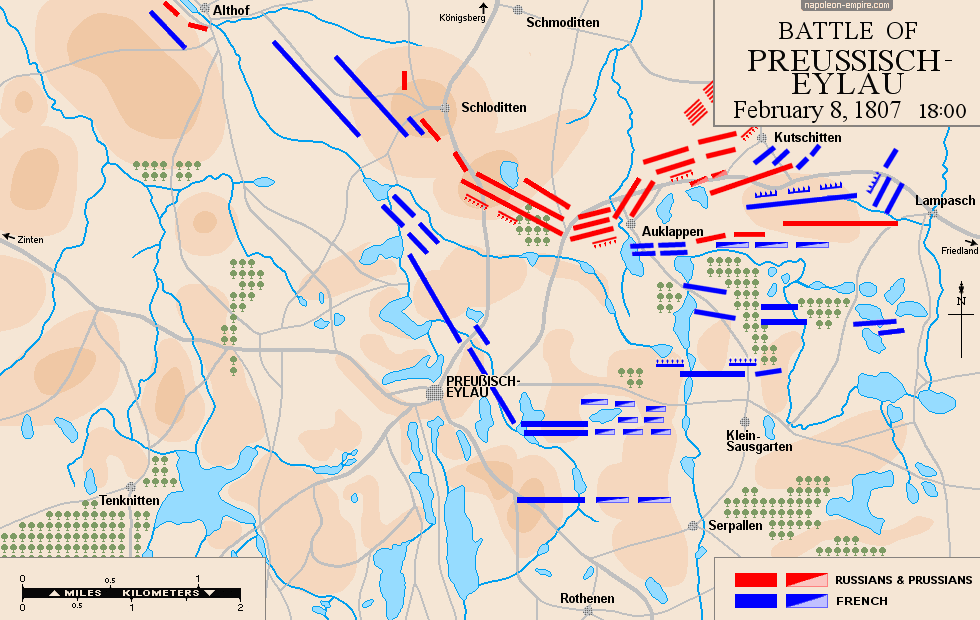 Map of the battle of Eylau, February 8th, 1807