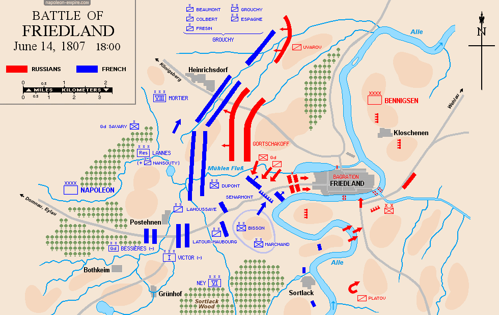 Map of the battle of Friedland