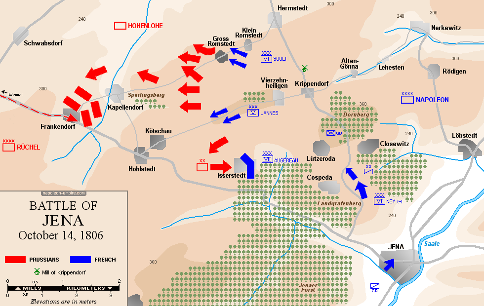 Map of the battle of Jena, October 14th, 1806