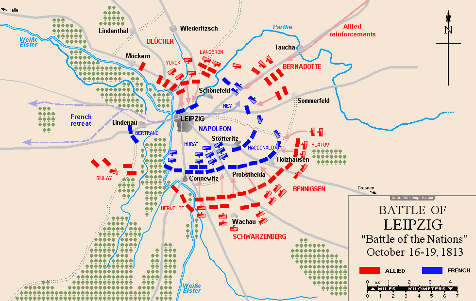 Map of the battle of Leipzig (Battle of the Nations)
