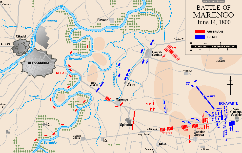 Map of the battle of Marengo