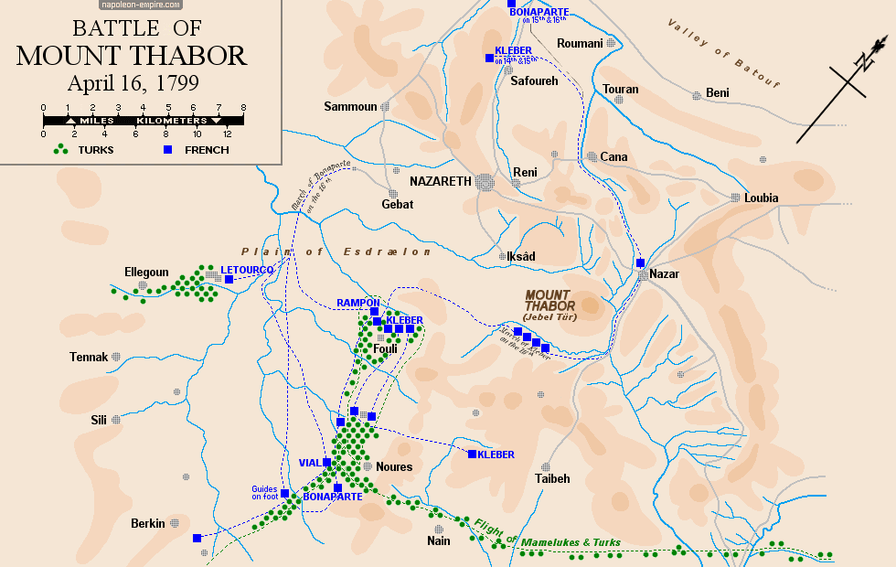 Map of the battle of Mount Tabor