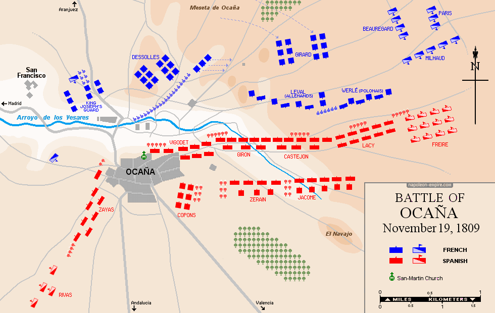 Map of the battle of Ocaña