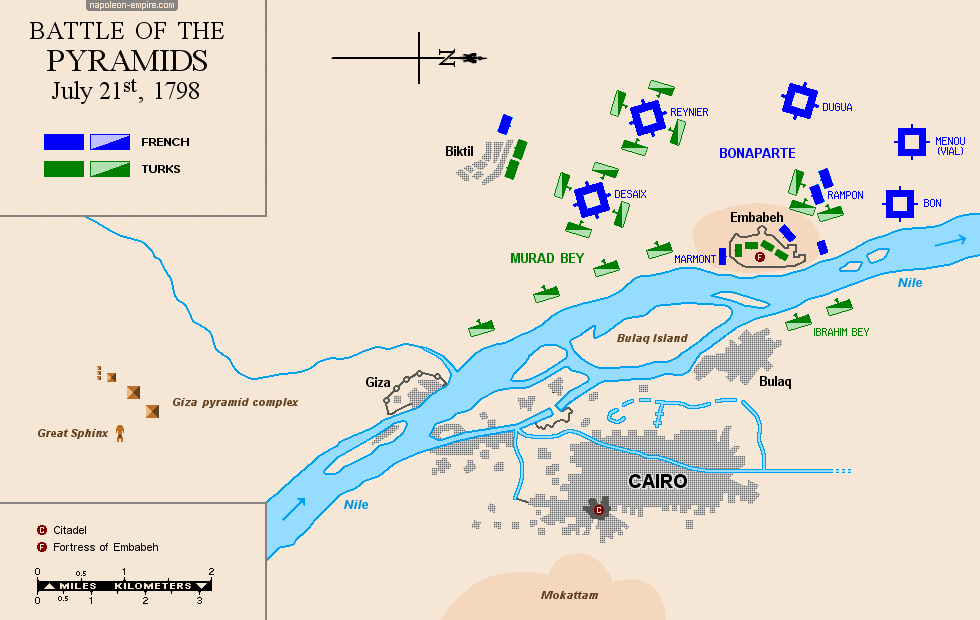 Map of the battle of the Pyramids (Battle of Embabeh)