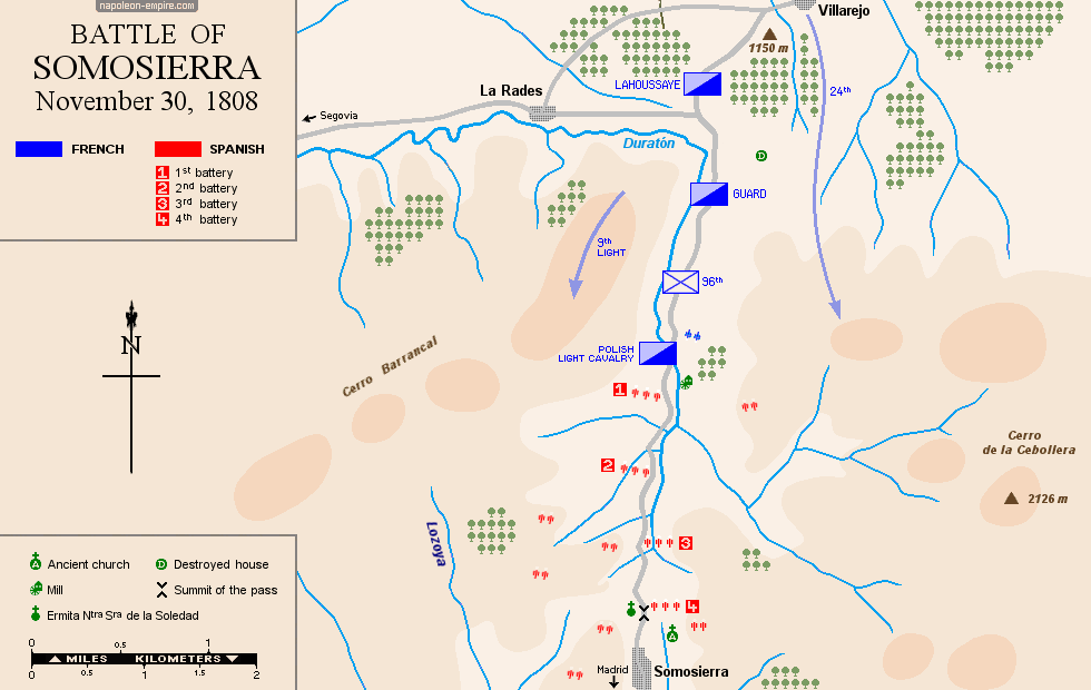 Map of the battle of Somosierra