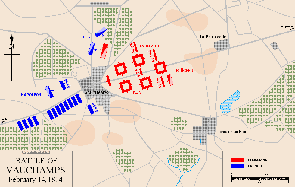 Map of the battle of Vauchamps