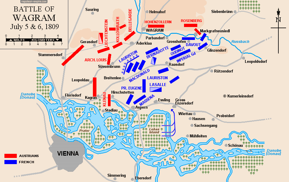 Map of the battle of Wagram