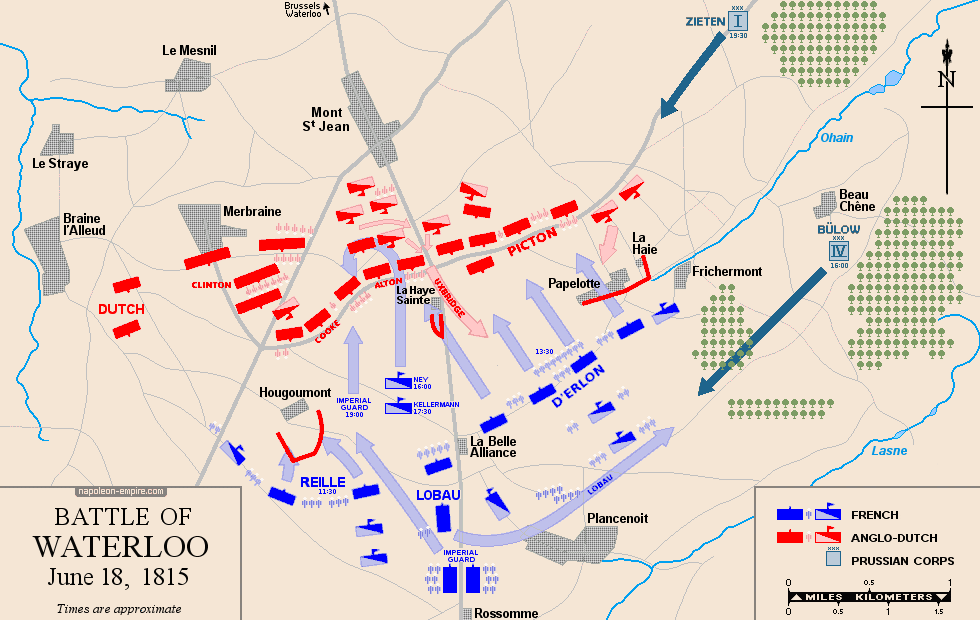 Map of the battle of Waterloo