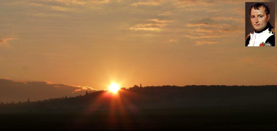 Lever de soleil sur le plateau de Pratzen à Austerlitz