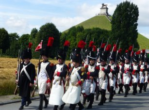 Parade near the Lion's Mound at Waterloo