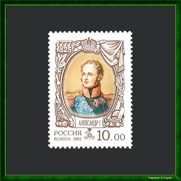 Russian stamp of 2002 depicting tsar Alexander Ist