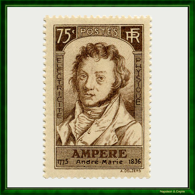 French stamp issued in 1936 for the centenary of the death of André Marie Ampère