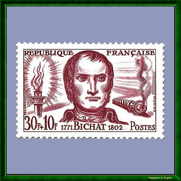 French 30 francs stamp issued in 1959 depicting Xavier Bichat