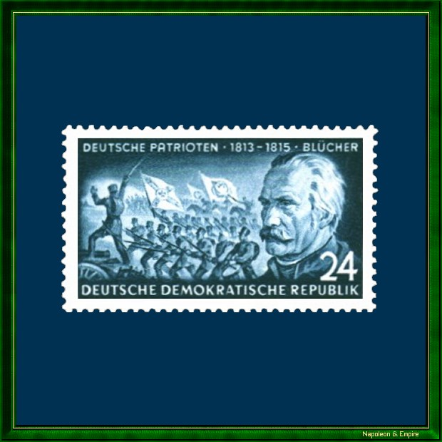 East German 24 pfennig stamp issued in 1953, representating general Blücher