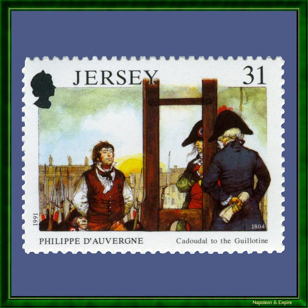 Stamp depicting the capital punishment of Cadoudal