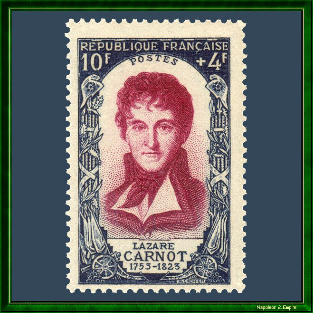 French 10 francs stamp issued in 1950 depicting Lazare Carnot