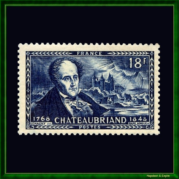 Stamp issued by French Post on the centenary of the death of François René de Chataubriand