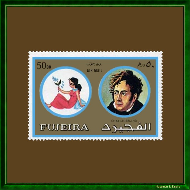 Stamp of the Emirate of Fujeira representing François René de Chateaubriand