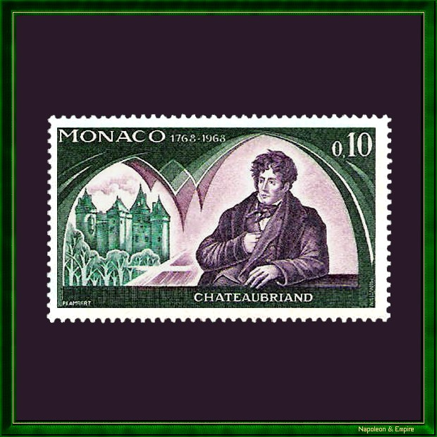 Monaco stamp representing from François René Chateaubriand