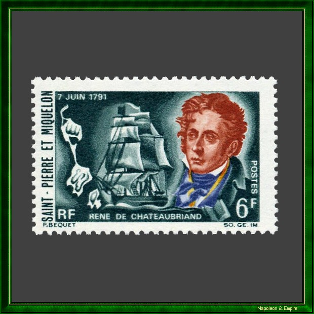 Stamp of Saint-Pierre-et-Miquelon depicting François René de Chateaubriand