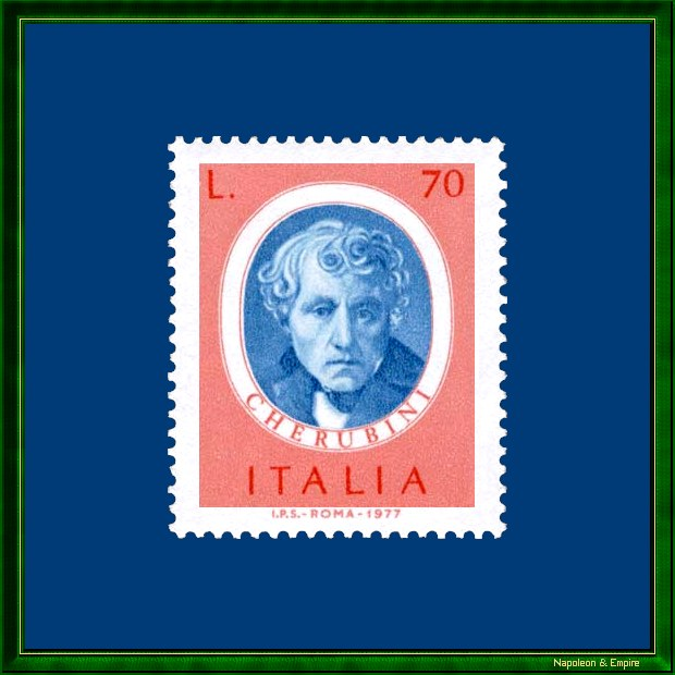 Italian stamp depicting Luigi Cherubini