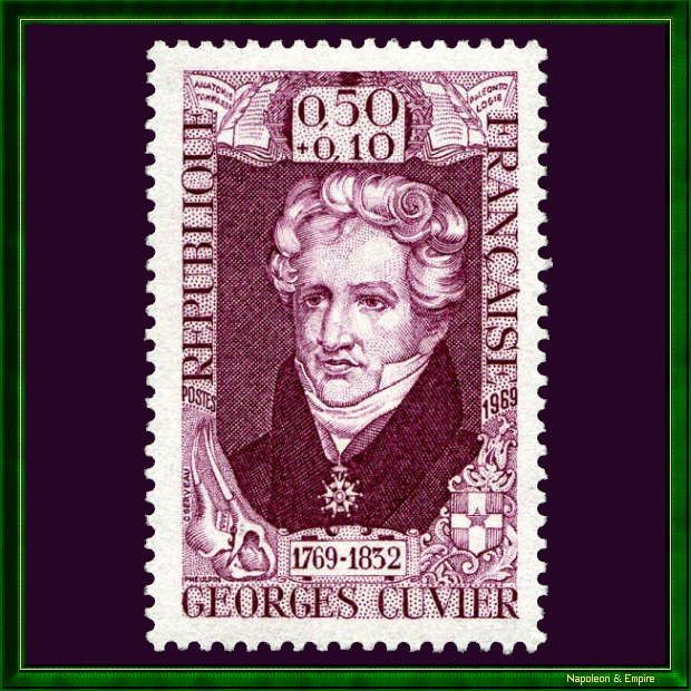 French stamp issued in 1969 for the bicentennial of the birth of the naturalist Georges Cuvier