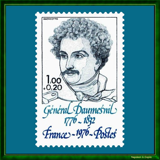 French stamp issued in 1976 for the bicentennial of the birth of general Daumesnil