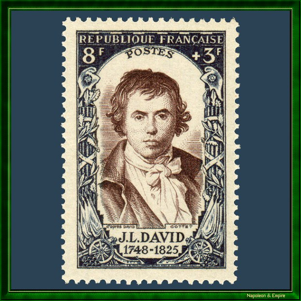 French 8 francs stamp issued in 1950 showing Jacques-Louis David