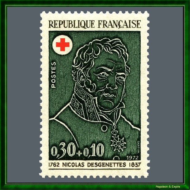 French 30 centimes stamp issued in 1972 showing Nicolas Desgenettes