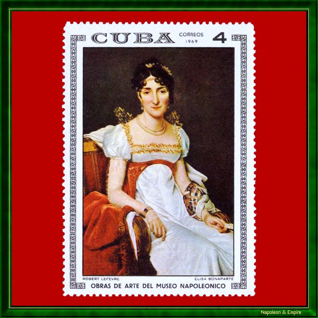 Cuban stamp of 1969 showing Elisa Bonaparte