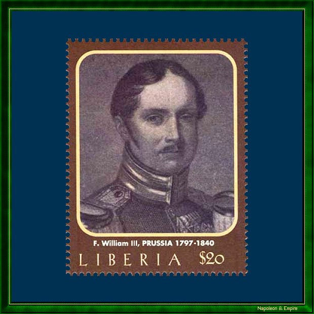 Liberian stamp of 20 dollars issued in 2000 presenting Frederic-William III of Prussia