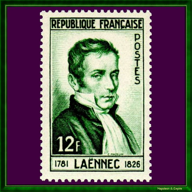 French 12 francs stamp issued in 1952 depicting René Laënnec